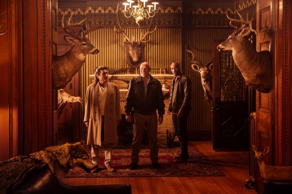 Ian McShane (Mr. Wednesday), Corbin Bernsen (Vulcan), Ricky Whittle (Shadow Moon).jpg